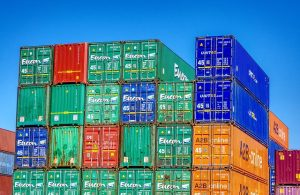 many shipping containers