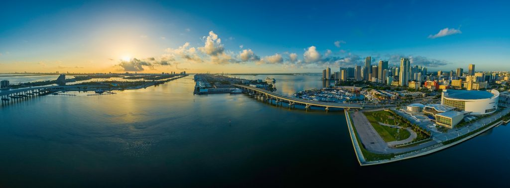 View of Miami from a distance.