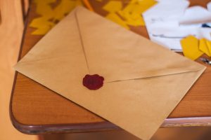 A vintage envelope sealed with wax.