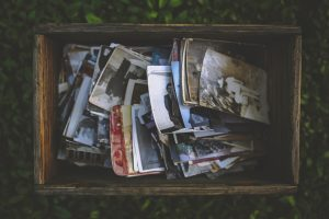 A box filled with old photographs.