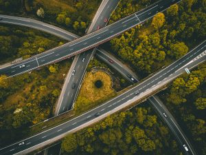Four entangled highway roads, surrounded by a forest.