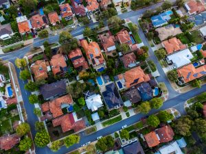 An aerial view of a suburban neighborhood in Orlando.