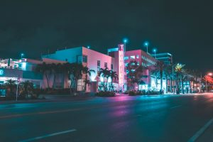 Miami streets at night.
