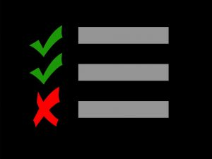 A checklist of a moving company with three check-marks and one X