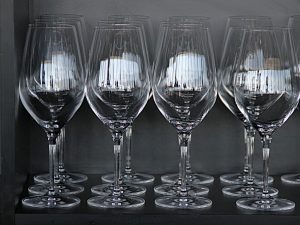 Rows of wine glasses.