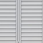 The doors of a white storage unit.