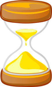 A computer drawing of an hourglass.