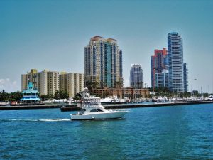 A view of a marina in Miami during daytime.