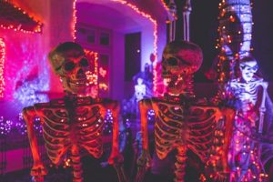 Two skeletons at a party