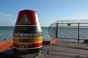 A picture of a buoy replica in Key West, one of the beaches in South Florida.