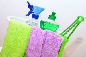 Cleaning supplies, to clean a house before moving out with.
