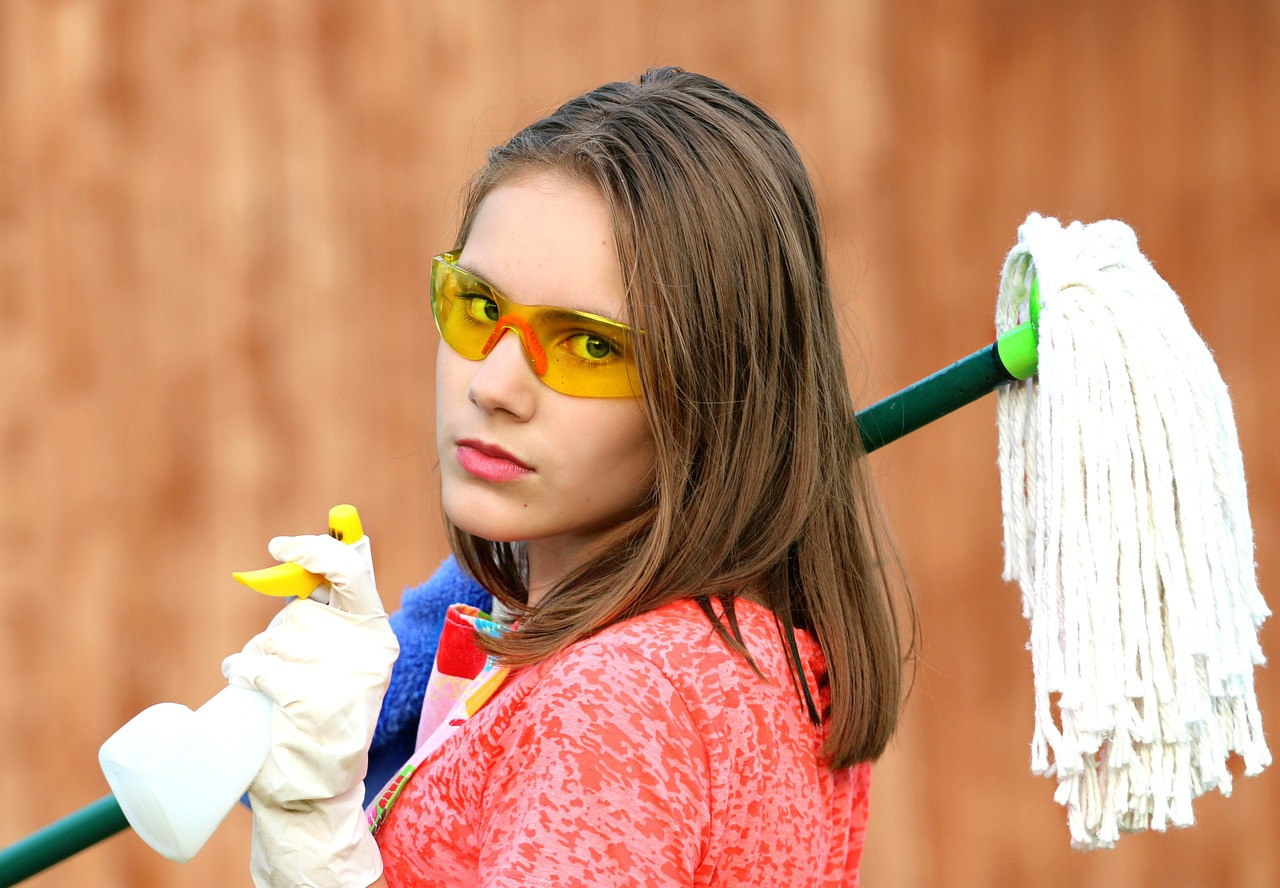 A woman ready to clean.