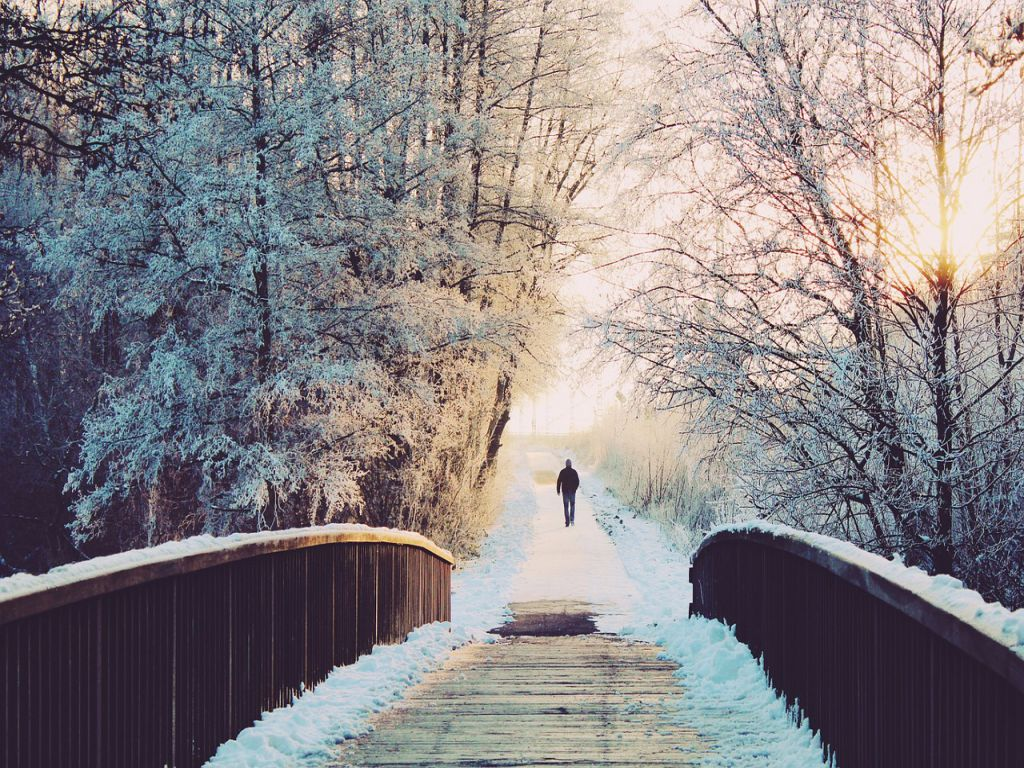 A man walking towards a wooden bridge, in a snowy forest.