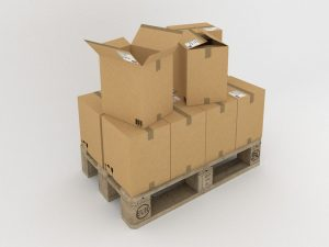 An image of moving boxes on a wooden palette, with a white background