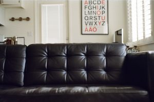 A black leather couch.