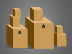 A computer image of cardboard boxes stacked on each other.