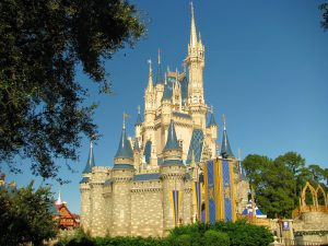 The Disney castle in Orlando's Disney World.