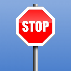 A red stop sign.