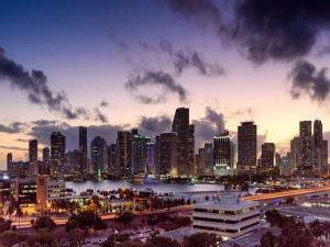 The downtown Miami area at night.