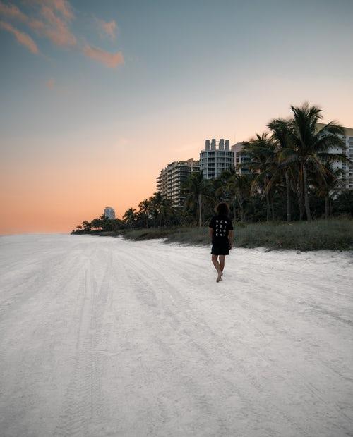 person walking on a beach