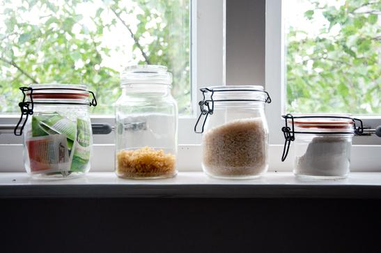 A few jars on a kitchen window