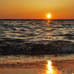 A beach during sunset