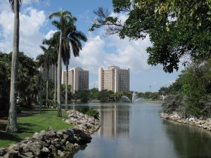 lake and palms in coral gables - one of the best college locations in Florida