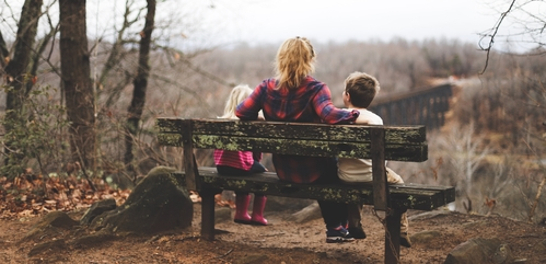 Parent with kids sitting on a bench