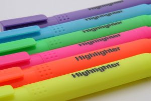 Marker pens in different colors.