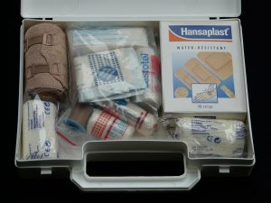 a first aid kit opened