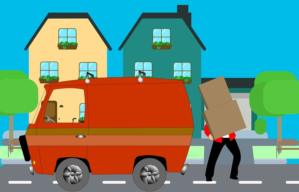 A drawing of the right way to load boxes after you pack your household.