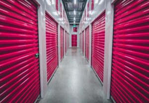 storage units with pink doors