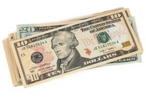 Dollar bills to spend when preparing instruments for storage.