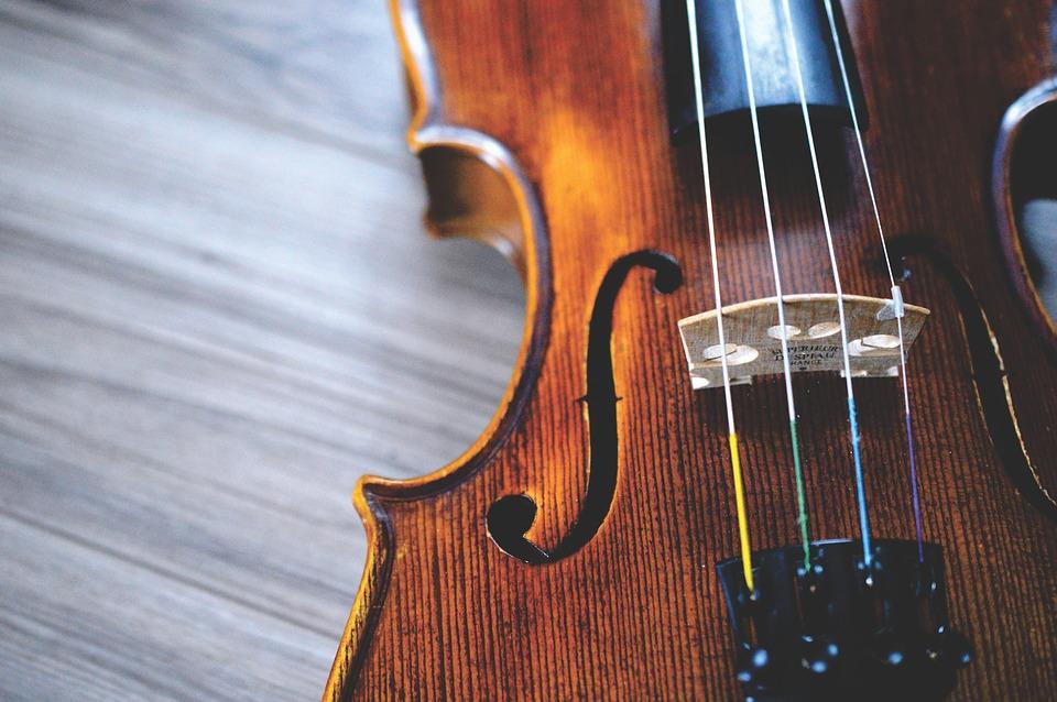 A close up of a violin.