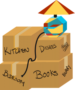speeding up the moving process means that you need to write kitchen, bedroom, dishes, books on your moving boxes