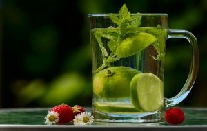 glass of water with vegetables