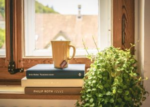 moving your book collection is very important. Three books by the window with a cup of tea placed on top of them