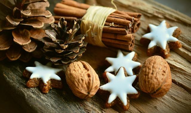 cinnamon, walnuts and cookies