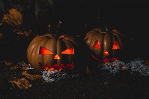 Two Jack O'lantern lamps