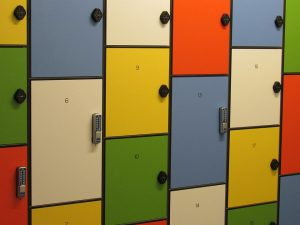storage lockers in different colors