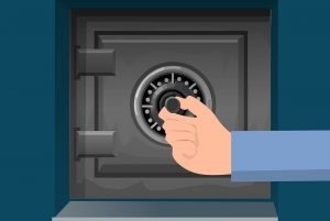 protect your property when moving out by using a safe. a grafic photo of a safe and a hand locking it