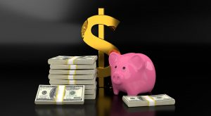 a piggy bank and piles of dollars