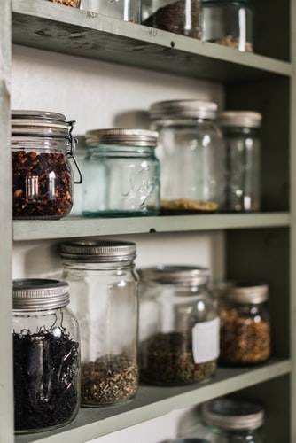 jars on the shelf